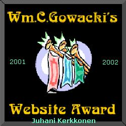 Wm.C.Gowacki's Website Award